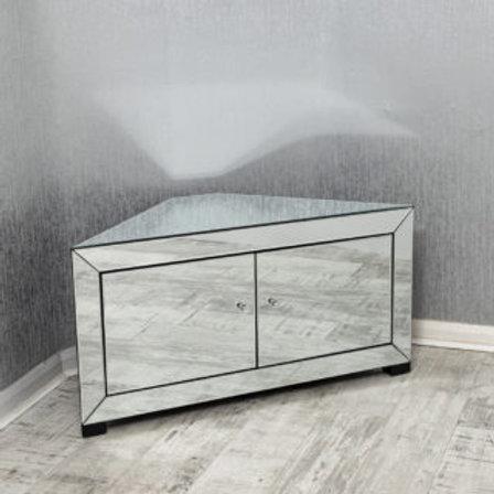 Corner 2 Door  Mirrored T V Cabinet / Media Unit