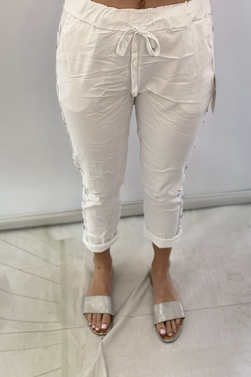 White Magic Trouser with side studded detail