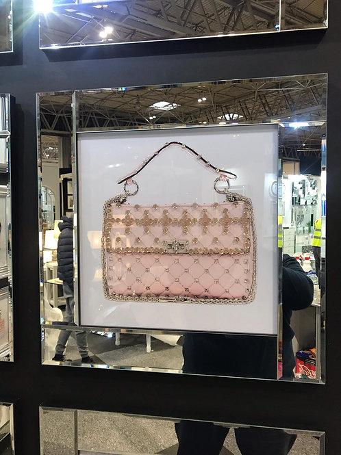 Designer Bag Liquid Art with Mirrored Frame