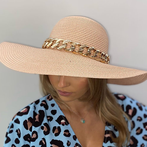 Pale pink Fedora Summer Hat with Gold Chain - One size adjustable