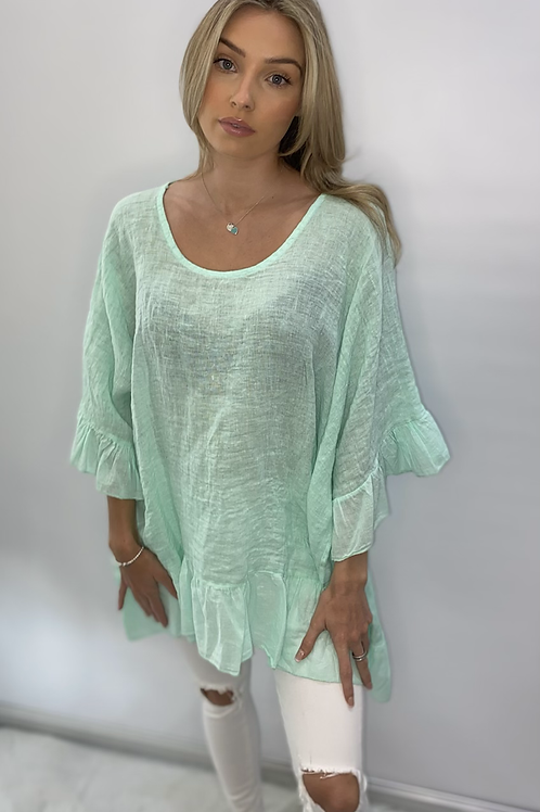 Frill Linen Oversize Tops - One Size - Many colours