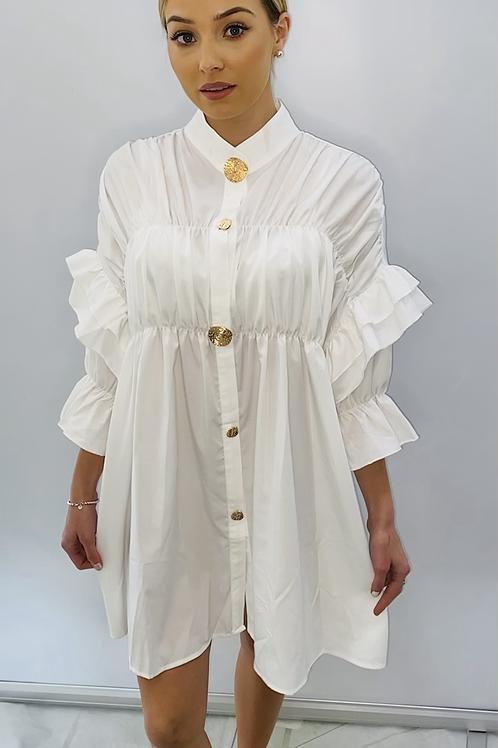 Ruffle Sleeve Shirt Dress /Top White