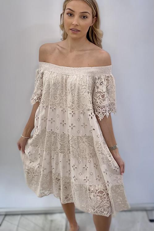 Off the shoulder beige dress