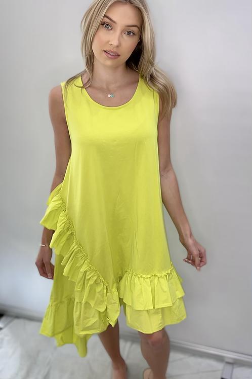 Lime Green Frill Dress