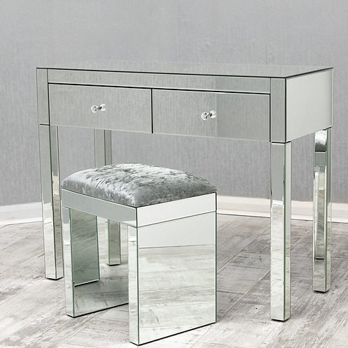Mirrored Stool with crushed Silver Fabric