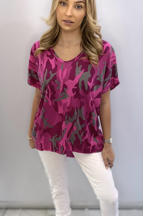 Pink camouflage print t-shirt one size