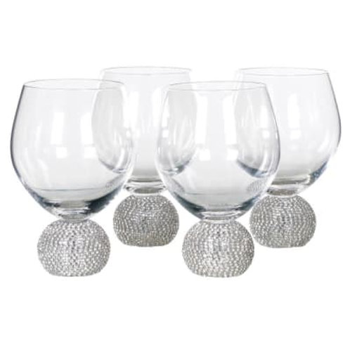 Set of 4 Silver Diamante Ball Water / Gin Glasses