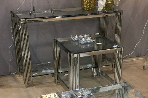Chic Glass and Chrome Console Table