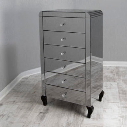 Smoke Glass 6 Drawer Mirrored Tallboy with Detailed curved cornering