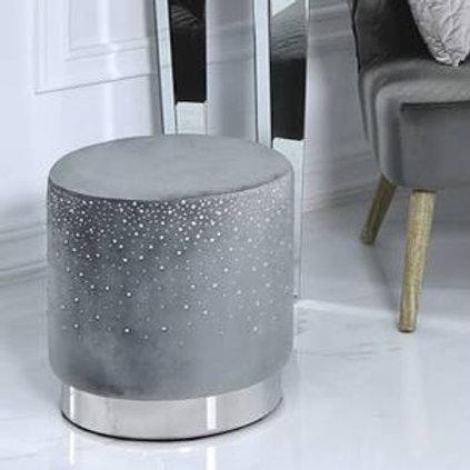 Grey Round Crystalled  Stool