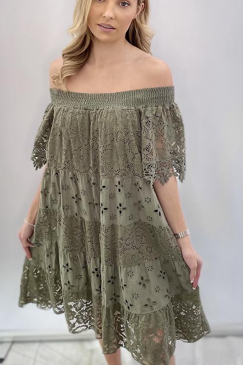 Off the shoulder khaki dress
