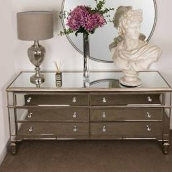 Belfry Six Drawer Mirrored Chest of Drawers