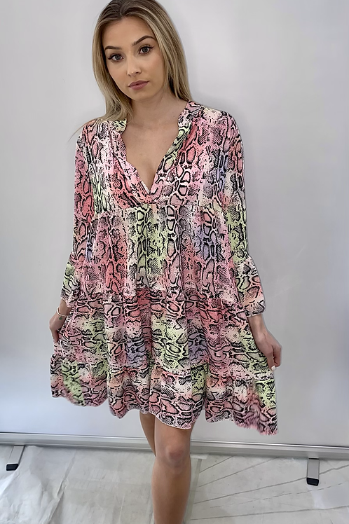 Multi Colour Animal Print Smock Dress