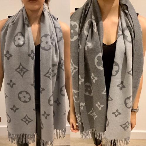 Reversible Grey Cashmere Designer Inspired Scarf Large Motif