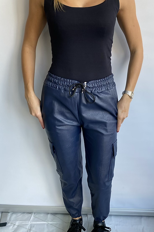 Navy Leather Look Jogger Trousers with Pocket detail