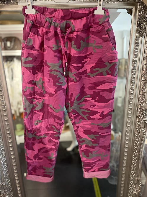 Cerise Cargo Magic Trouser - Pink Two Sizes
