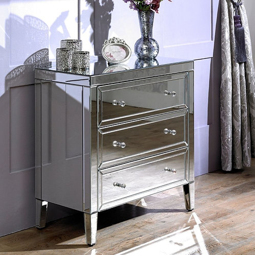 GLAMOROUS LARGE MARILYN MIRRORED 3 DRAWER CHEST