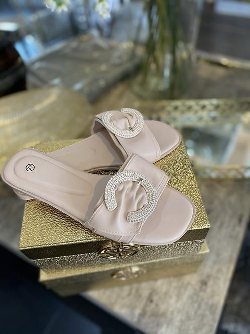 Beige Designer Inspired C Sandal