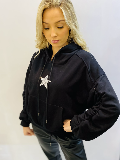 Black Sparkle star rouched sleeve sweatshirt