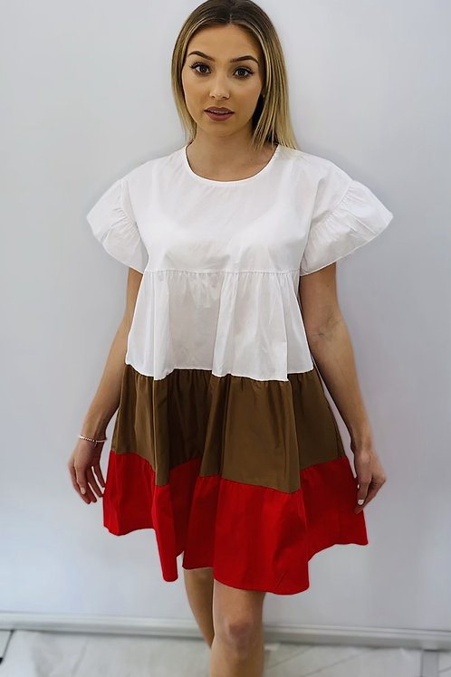 Tunic Dress with Beige and Red Panelling