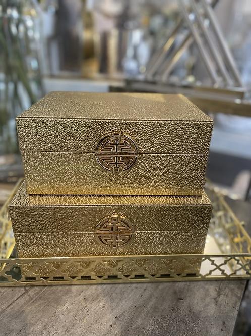Gold Moc Croc Designer Inspired Storage Boxes