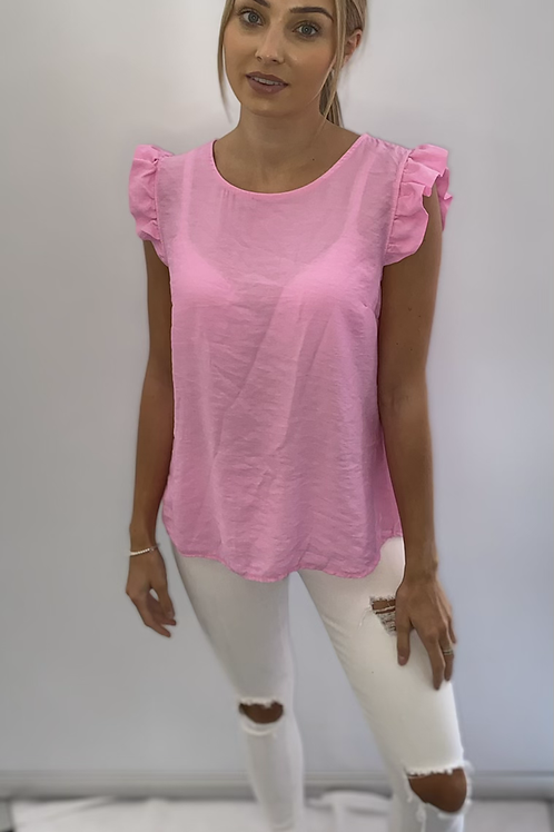 Frill Shoulder Top with Button Detail on Back - Various Colours