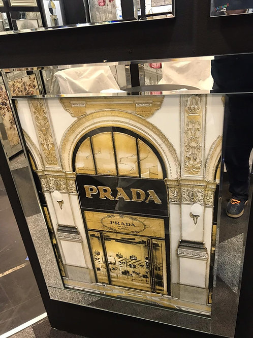 Prada Store Entrance Liquid Art with Mirrored Frame