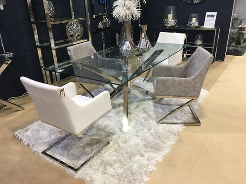 Chic Glass and Chrome Dining Table 160 cm
