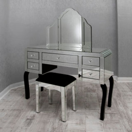 5 Drawer Mirror Dressing Table Set with Stool and Mirror
