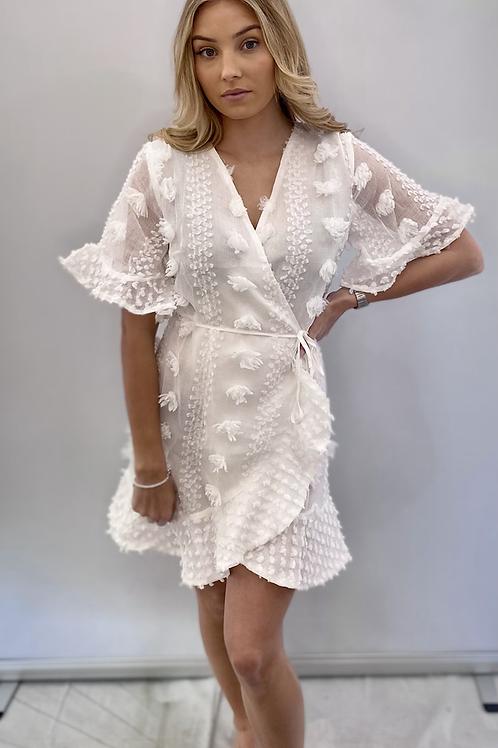 White Designer Inspired Wrap Dress