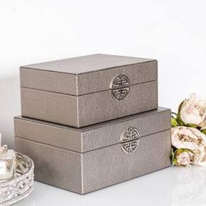 Silver Moc Croc Designer Inspired Storage Boxes
