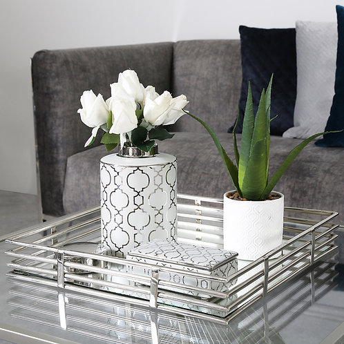 White and Silver Modern Aztec Print Ginger Jars - 2 sizes 30 cm and 20.6cm