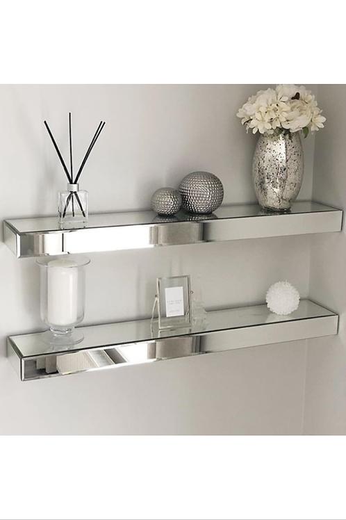 Pair of Mirrored Floating Shelves Medium
