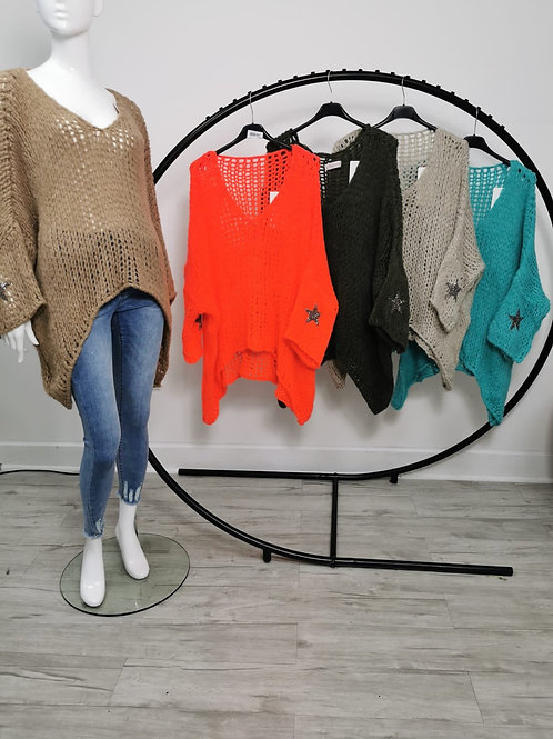 Oversize Knit  V Neck Jumper with Star Sparkle on sleeve