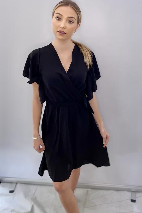 Black Wrap Over Style Dress Midi