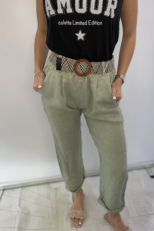 Linen Belted Pocket Trousers with Belt - Various Colours
