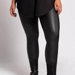 Plus Size Black Wet Look Leggings