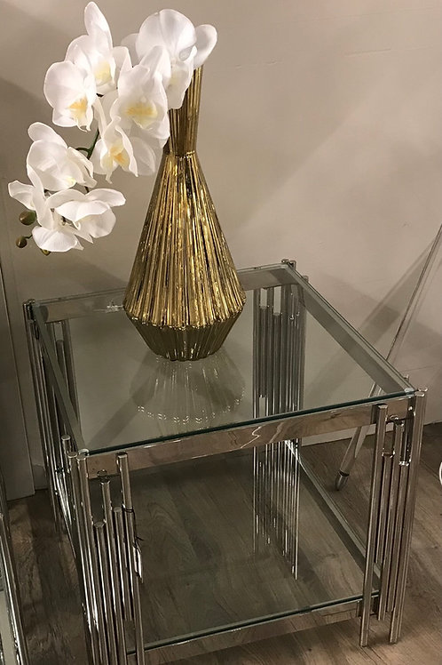 Chic Glass and Chrome Side / Lamp Table