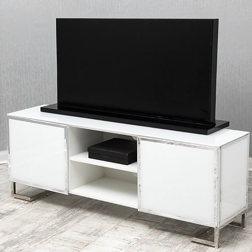 White Mirrored TV Unit with Mirrored Trim