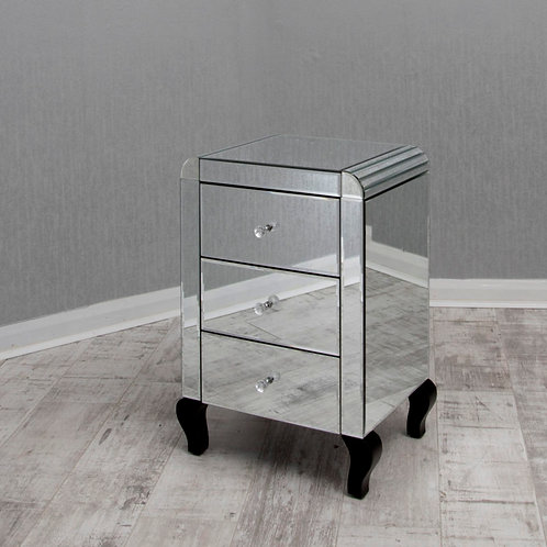 3 Drawer Mirrored Bedside with Detailed curved cornering