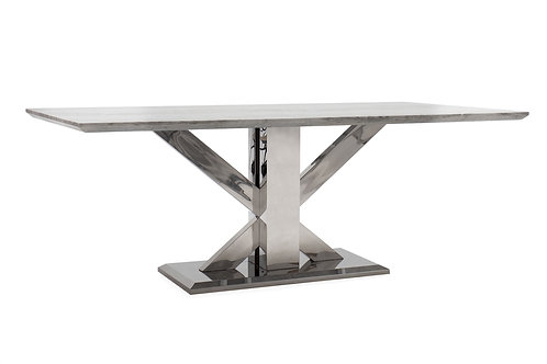 Tremmen Marble Stainless Steel Dining Table - Grey