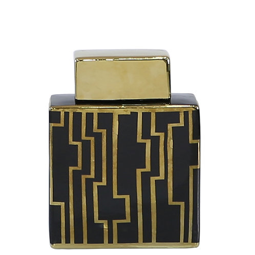Black and Gold Print Aztec Oblong Ginger Jars - 2 sizes 24 cm and 21.5