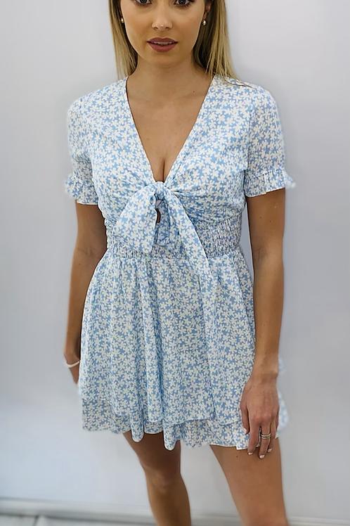 Blue Daisy Reversible Tie Summer Dress