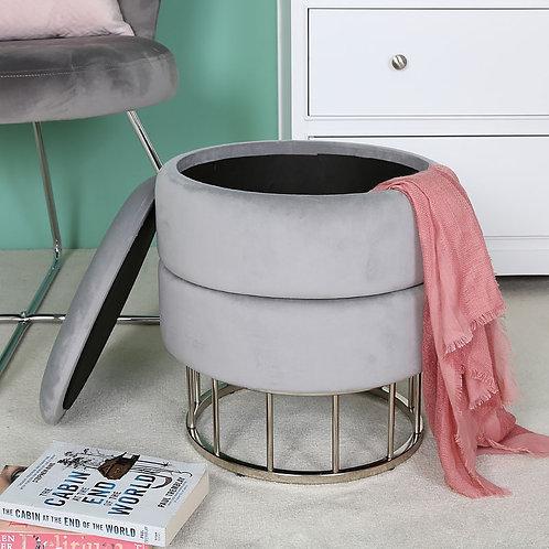 Grey Round Storage Stool
