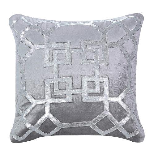 Geometric Silver and Grey Cushion