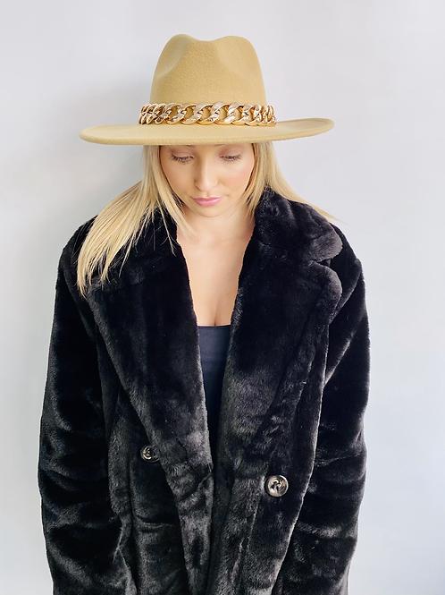 Camel Fedora Hat with Gold Chain - One size