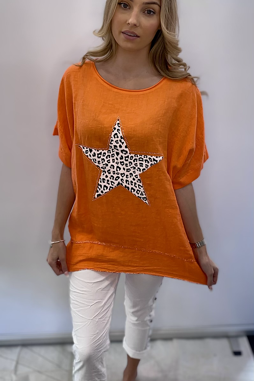 Linen Star Bling Top - mixed colours