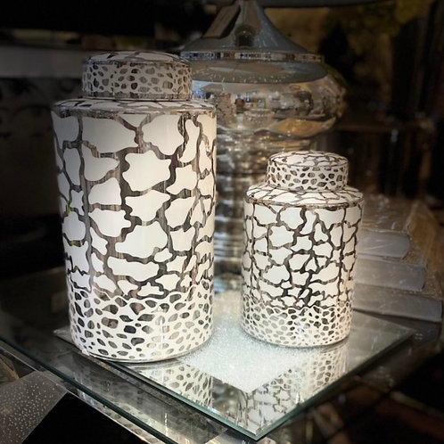 White and Silver Print Ginger Jars - 2 sizes 30 cm and 20.6cm