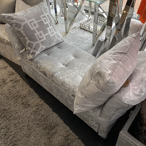 Silver Crushed Velvet Ottoman with Storage