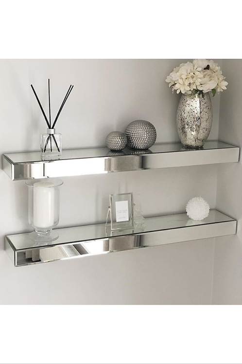 Pair of Mirrored Floating Shelves Large